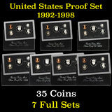 Group of 7 United States Silver Proof Sets 1992-1998 35 coins