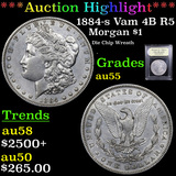 ***Auction Highlight*** 1884-s Vam 4B R5 Morgan Dollar 1 Graded Choice AU By USCG (fc)