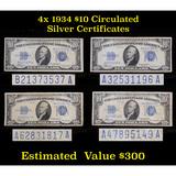 4x 1934 $10 Blue Seal Silver Certificate Circulated Grades