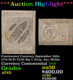 ***Auction Highlight*** Continental Currency September 26th, 1778 $8 Fr-CC81 Sig I. Gray, Jno. Hellm