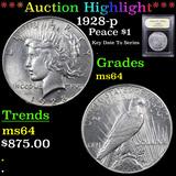 ***Auction Highlight*** 1928-p Peace Dollar 1 Graded Choice Unc By USCG (fc)