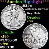 ***Auction Highlight*** 1921-s Walking Liberty Half Dollar 50c Grades vf+ (fc)