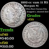1892-cc vam 11 R5 Morgan Dollar $1 Grades vf++