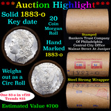 ***Auction Highlight*** Full solid date 1883-o Morgan silver dollar roll, 20 coins (fc)