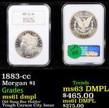 NGC 1883-cc Morgan Dollar $1 Graded ms61 dmpl By NGC