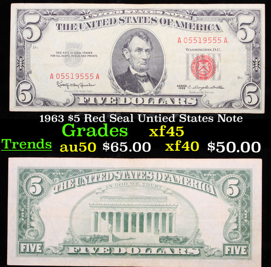 1963 $5 Red Seal Untied States Note xf+
