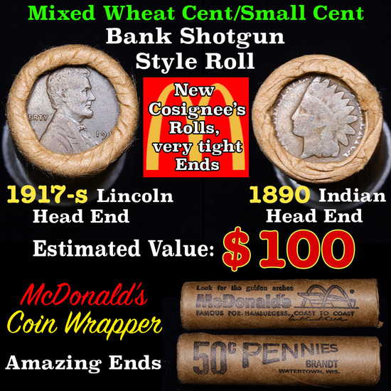Mixed small cents 1c orig shotgun roll, 1917-s Wheat Cent, 1890 Indian Cent other end, McDonalds Wra