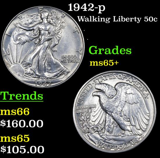 1942-p Walking Liberty Half Dollar 50c Grades GEM+ Unc