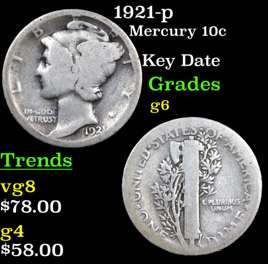 1921-p Mercury Dime 10c Grades g+