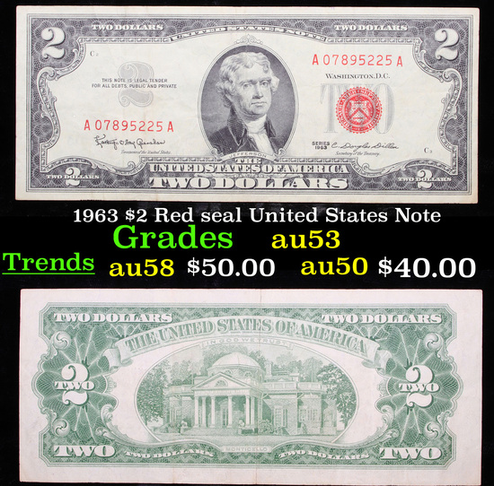 1963 $2 Red seal United States Note Select AU