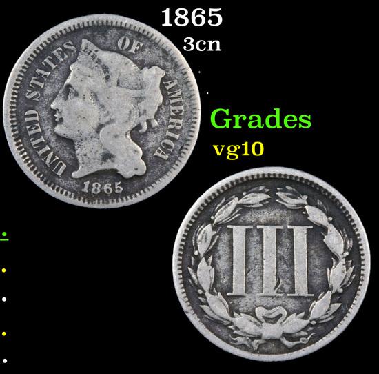 1865 Three Cent Copper Nickel 3cn Grades vg+