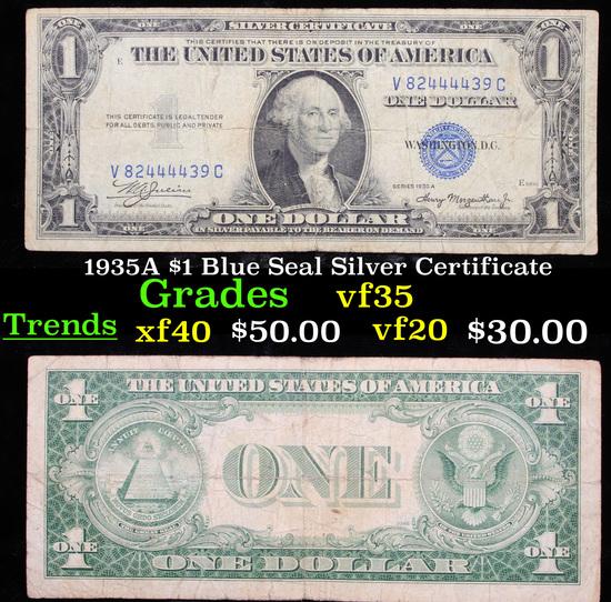 1935A $1 Blue Seal Silver Certificate vf++