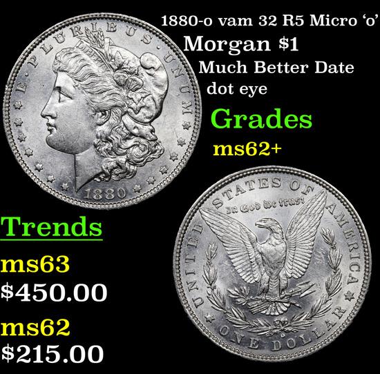 1880-o vam 32 R5 Micro 'o' Morgan Dollar $1 Grades Select Unc