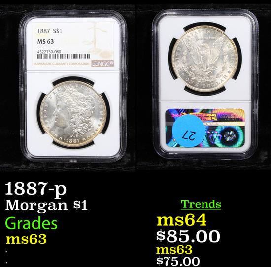 NGC 1887-p Morgan Dollar $1 Graded ms63 By NGC