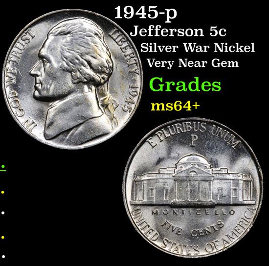 1945-p Jefferson Nickel 5c Grades Choice+ Unc