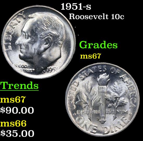 1951-s Roosevelt Dime 10c Grades GEM++ Unc