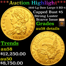 1810 Lg Date Large 5 BD-4 Gold Capped Bust Half