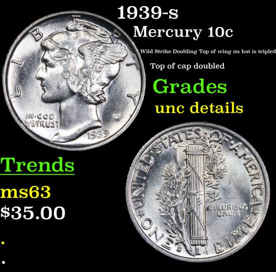 1939-s Mercury Dime 10c Grades Unc Details