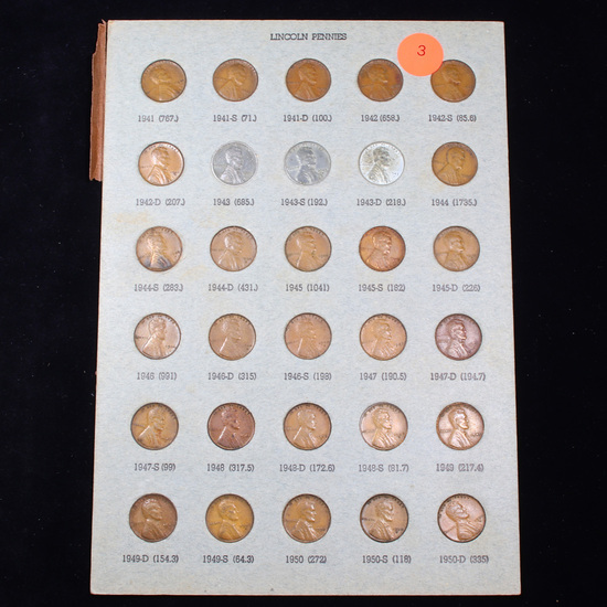 Complete Lincoln Cent Page 1941-1950 30 coins
