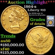 PCGS 1864-s Gold Liberty Eagle $10 Graded xf