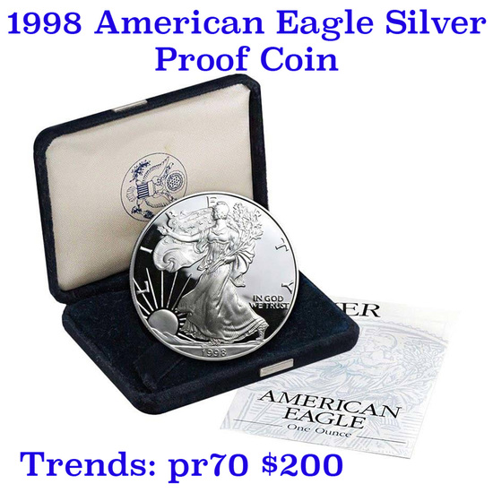 1998-p Proof SILVER Eagle original mint packaging w/coa