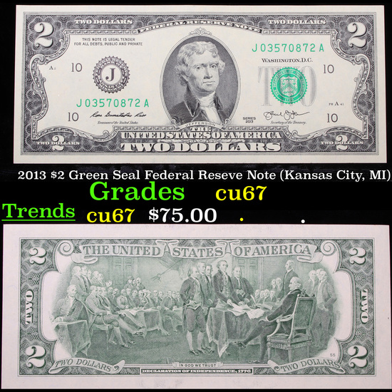 2013 $2 Green Seal Federal Reseve Note (Kansas City, MI) Grades Gem++ CU