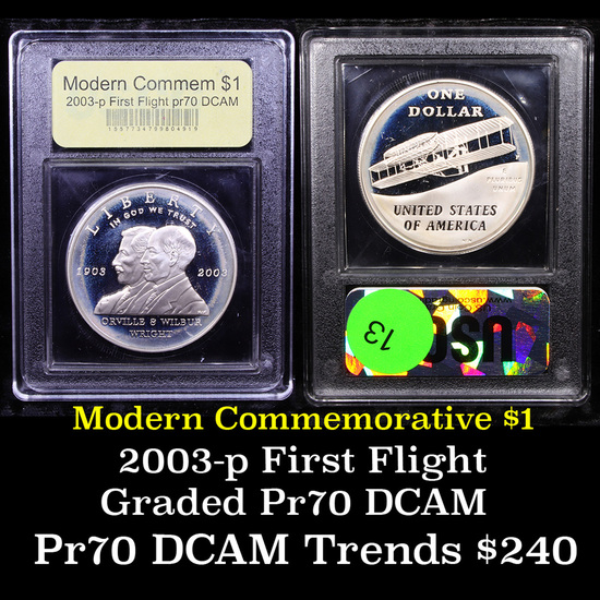 Proof 2003-P First Flight Modern Commem Dollar $1 Graded GEM++ Proof Deep Cameo By USCG