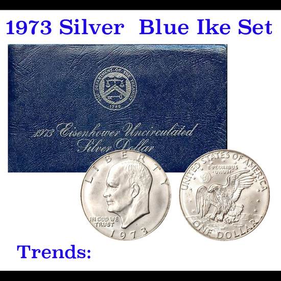 "1973-s Silver Unc Eisenhower Dollar in Original Packaging with COA  ""Blue Ike"""