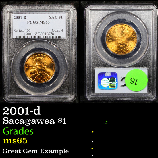 PCGS 2001-d Sacagawea $1 1 Graded ms65 By PCGS