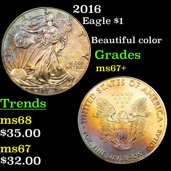 2016 Silver Eagle Dollar $1 Grades Gem++ Unc