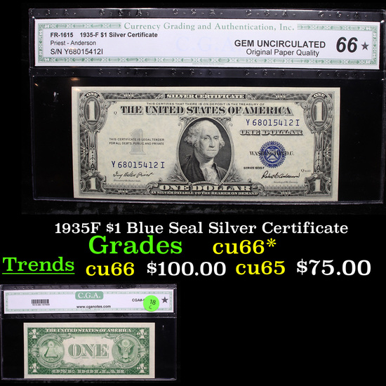 1935F $1 Blue Seal Silver Certificate  Graded cu66* By CGA