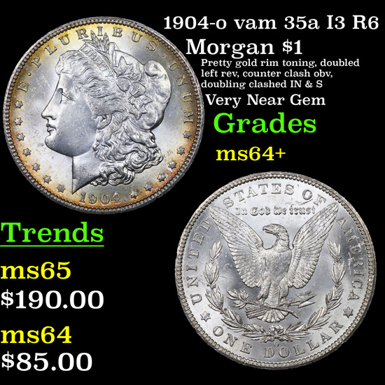1904-o vam 35a I3 R6 Morgan Dollar $1 Grades Choice+ Unc