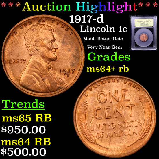 ***Auction Highlight*** 1917-d Lincoln Cent 1c Graded Choice+ Unc RB By USCG (fc)