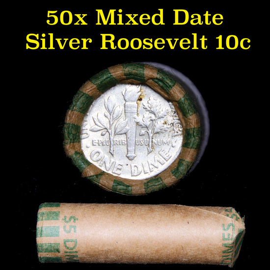 Roll of 50 Mixed Date Roosevelt Dimes
