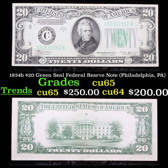 1934b $20 Green Seal Federal Resrve Note (Philadelphia, PA) Grades Gem CU
