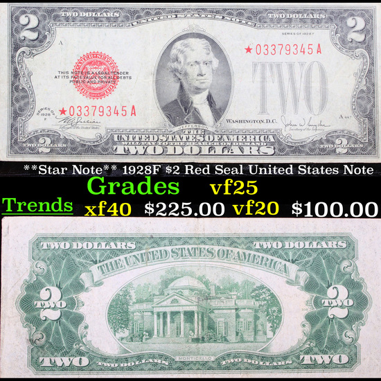 **Star Note** 1928F $2 Red Seal United States Note Grades vf+