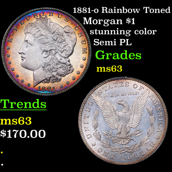 1881-o Rainbow Toned Morgan Dollar $1 Grades Select Unc