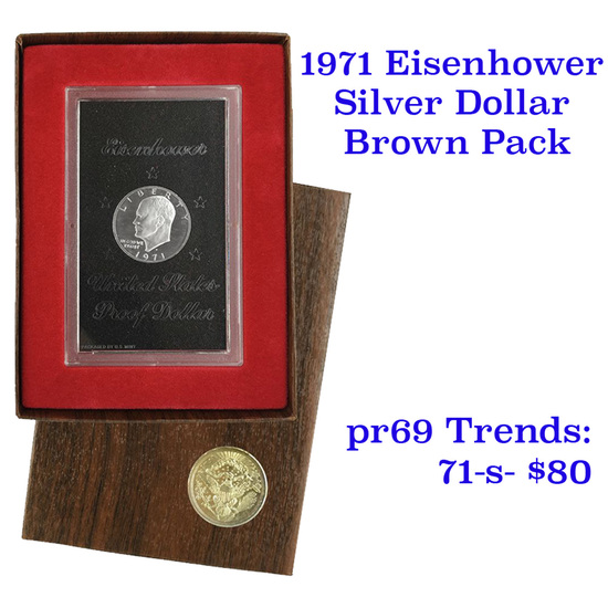"1971-s Proof Silver Eisenhower Dollar ""Brown Ike"""