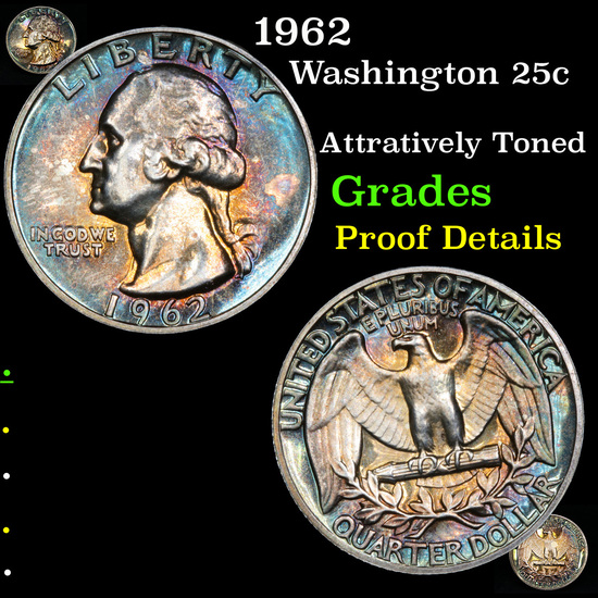 Proof 1962 Washington Quarter 25c Grades Proof Details