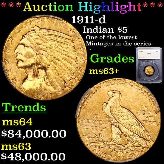 *HIGHLIGHT OF ENTIRE AUCTION* 1911-d Gold Indian Half Eagle $5 Graded ms63+ By SEGS (fc)