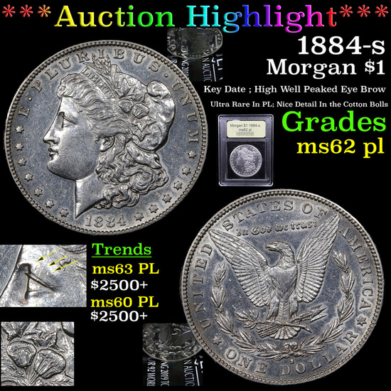 ***Auction Highlight*** 1884-s Morgan Dollar $1 Graded Select Unc PL By USCG (fc)