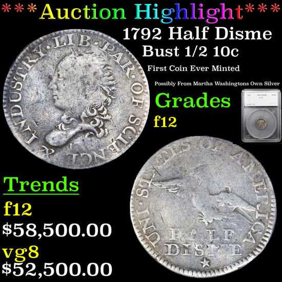 *HIGHLIGHT OF ENTIRE YEAR* 1792 Half Disme Bust Half Dime 1/2 10c Graded f12 By SEGS