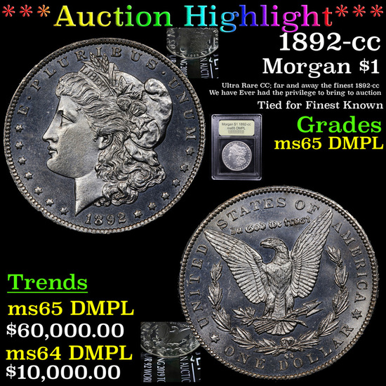 ***Auction Highlight*** 1892-cc Morgan Dollar $1 Graded GEM Unc DMPL By USCG (fc)