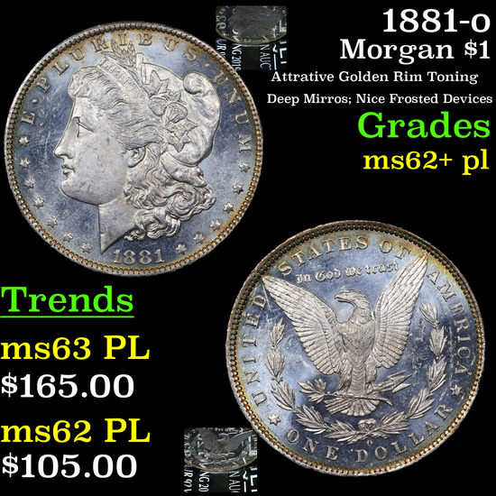 1881-o Morgan Dollar $1 Grades Select Unc+ PL