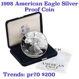 1998-p Proof SILVER Eagle original mint packaging w/coa