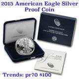 2015 1 oz .999 fine Proof Silver American Eagle orig box w/COA