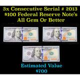 ***Auction Highlight*** 3x Consecutive Serial # 2013 $100 Federal Reserve Note Grades Gem CU (fc)