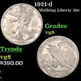 1921-d Walking Liberty Half Dollar 50c Grades vg, very good