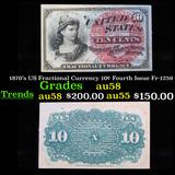 1870's US Fractional Currency 10¢ Fourth Issue Fr-1259 Grades Choice AU/BU Slider