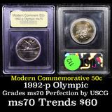 1992-p Olympics Modern Commem Half Dollar 50c Graded ms70, Perfection By USCG